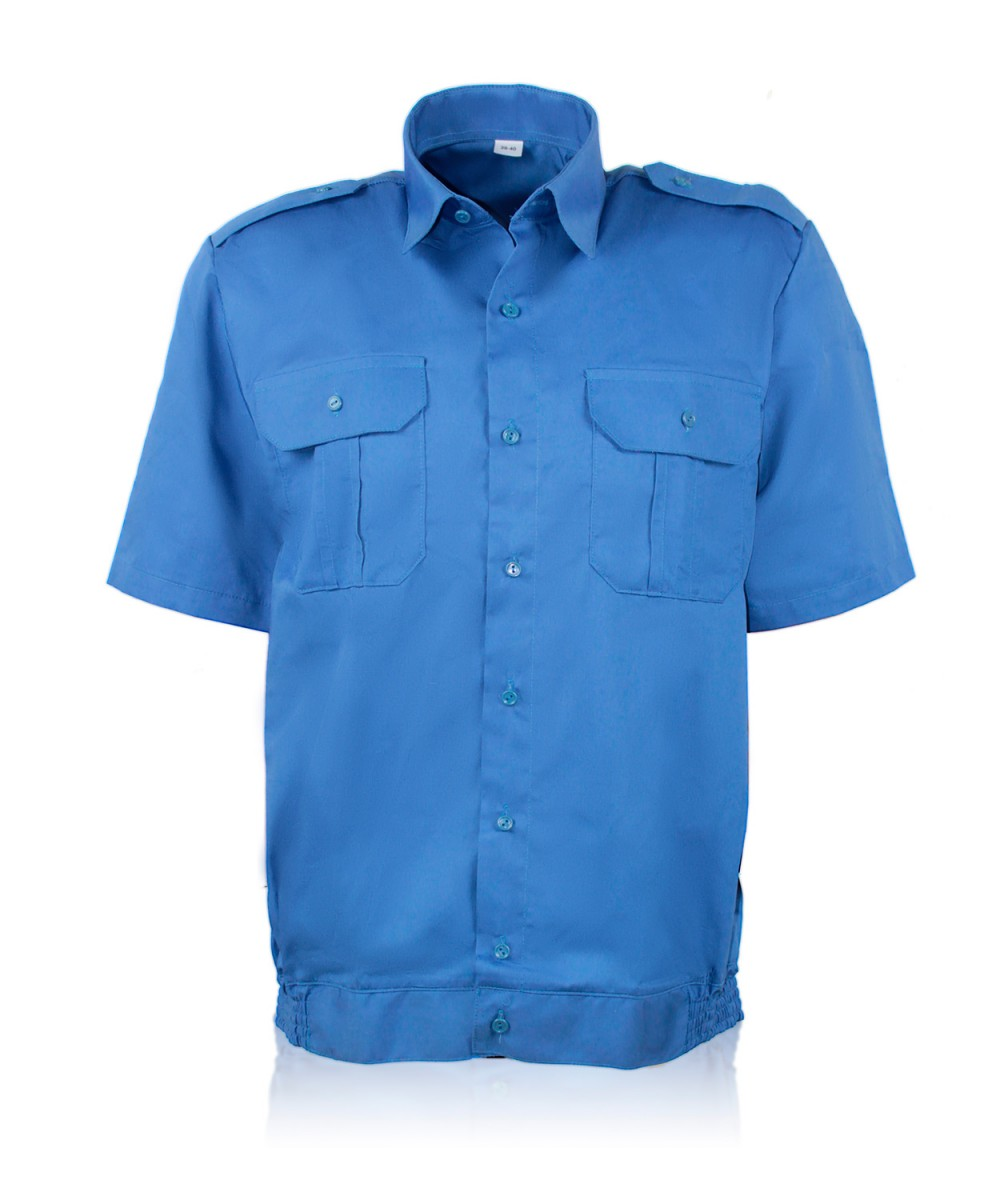 Рубашка форменная под резинку кор.рукав т.голубая