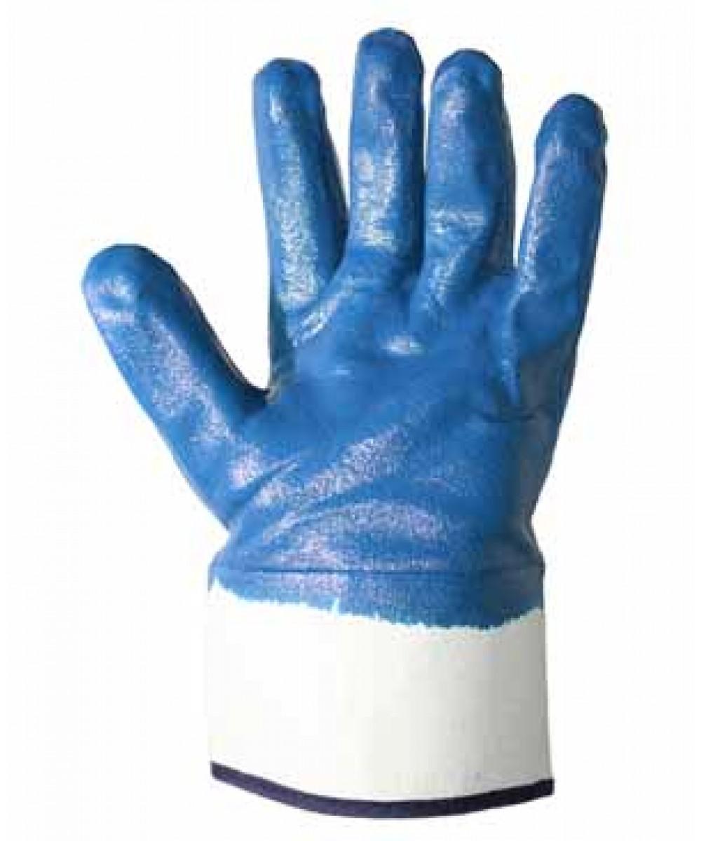 Перчатки трикотажные с нитриловым покрытием и жестким манжетом синие