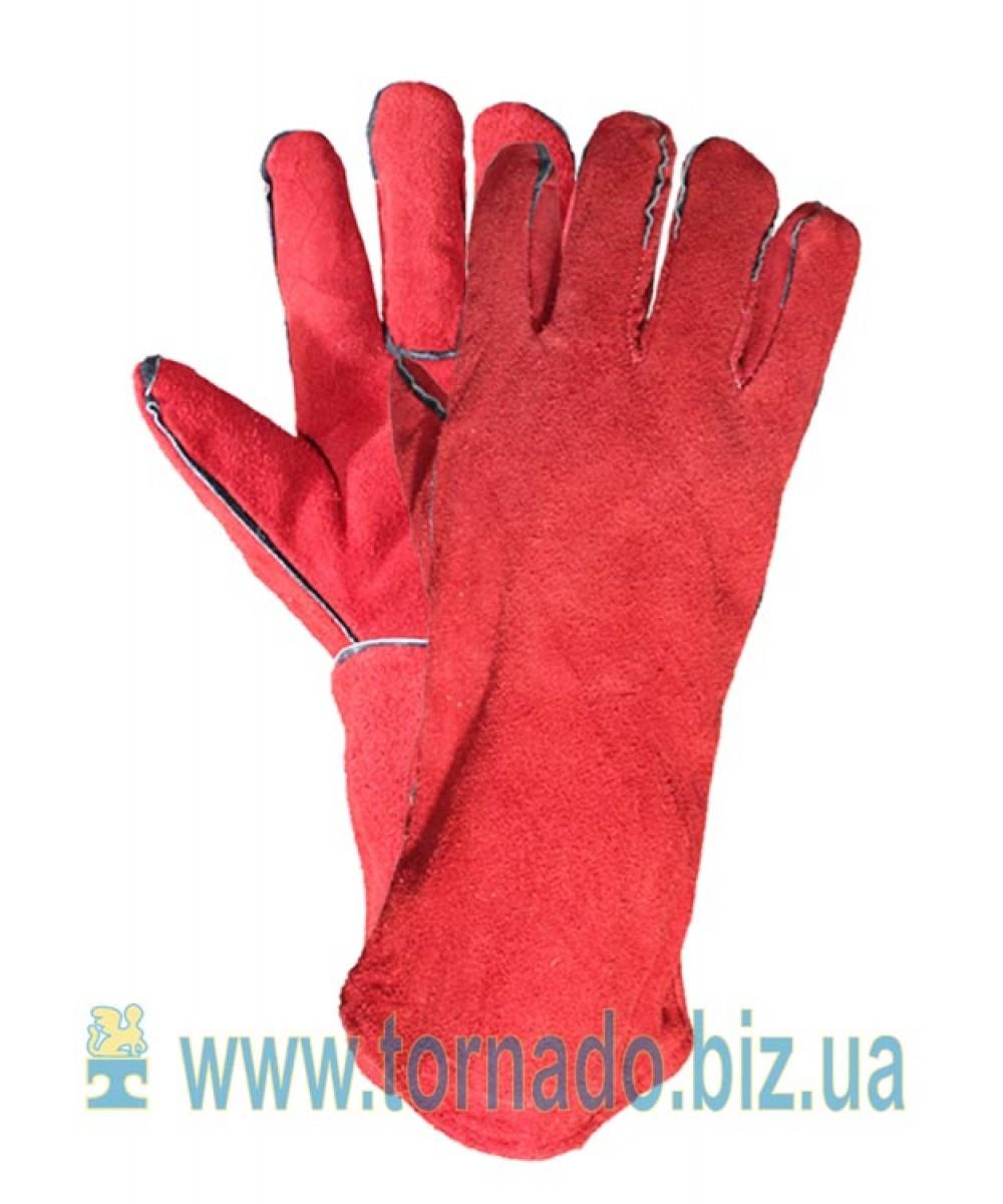 Перчатки кожаные с крагами с подкладкой