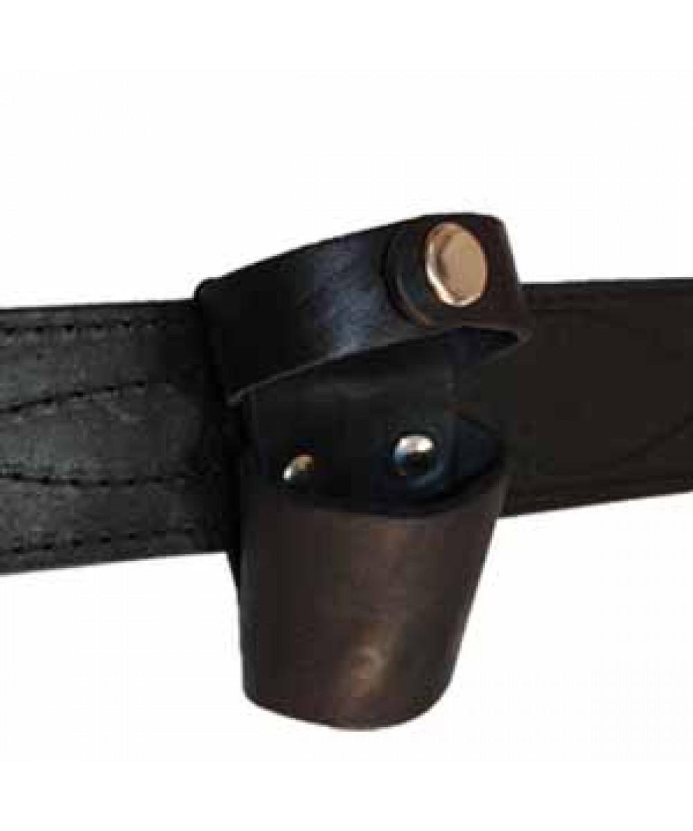 Чехол поясной кожаный под дубинку/фонарь узкий
