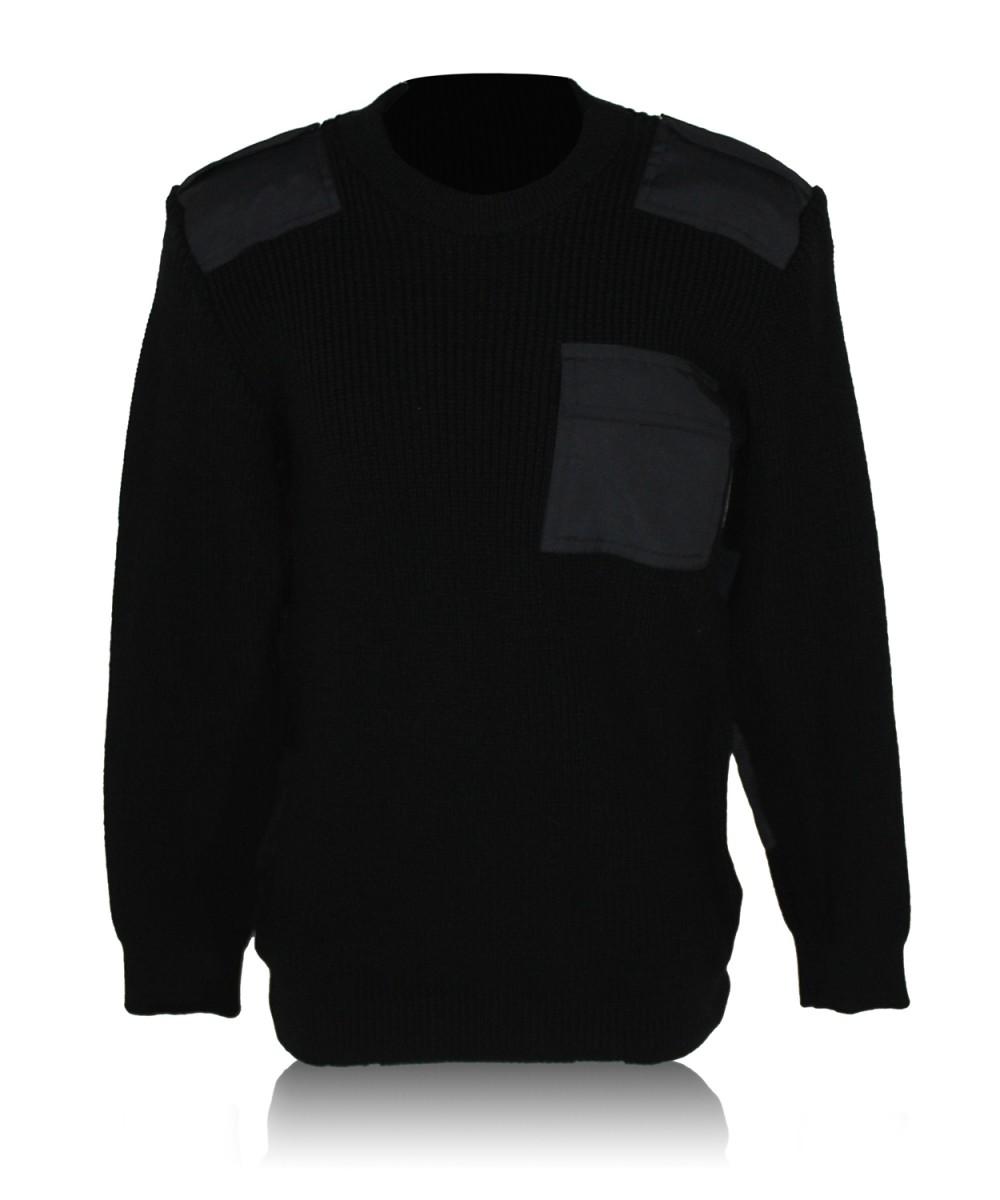 Свитер с накладками черный