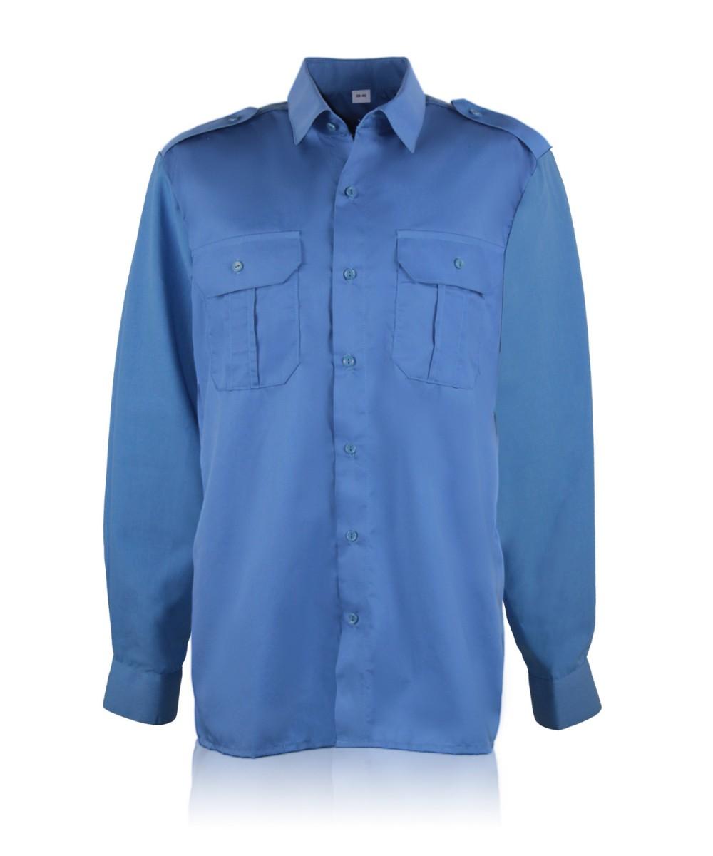 Рубашка форменная дл.рукав т.голубая