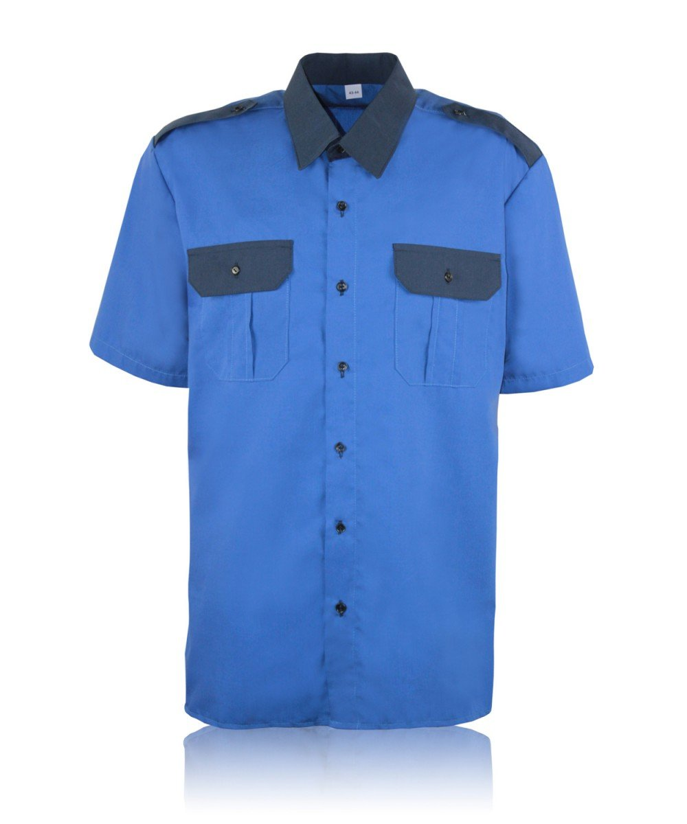 Рубашка комбинированная кор.рукав т.голубая
